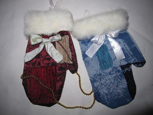 Новый год 2017 ручной работы. Ярмарка Мастеров - ручная работа. Купить Рождественские рукавички. Handmade. Тёмно-синий, рождество, сувениры