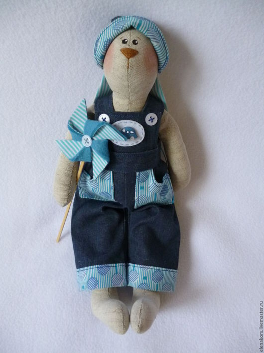 Куклы Тильды ручной работы. Ярмарка Мастеров - ручная работа. Купить Зайчик с ветрячком. Handmade. Синий, лён