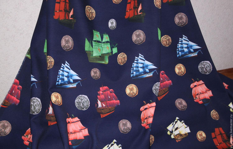 Demi crepe-stretch 'Brigantine' in dark blue, Fabric, Moscow,  Фото №1