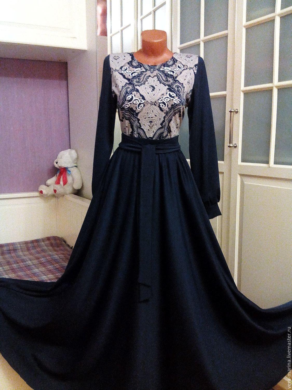 Комбинированное трикотажное платье в пол Жозефина, Платья, Москва,  Фото №1