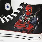 """Обувь ручной работы. Ярмарка Мастеров - ручная работа Кеды """"Deadpool"""" кеды Конверс Converse с росписью. Роспись кед. Handmade."""