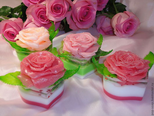 """Мыло ручной работы. Ярмарка Мастеров - ручная работа. Купить """"Роза в сердце"""" Подарочный набор. Handmade. Фуксия, масло розы"""