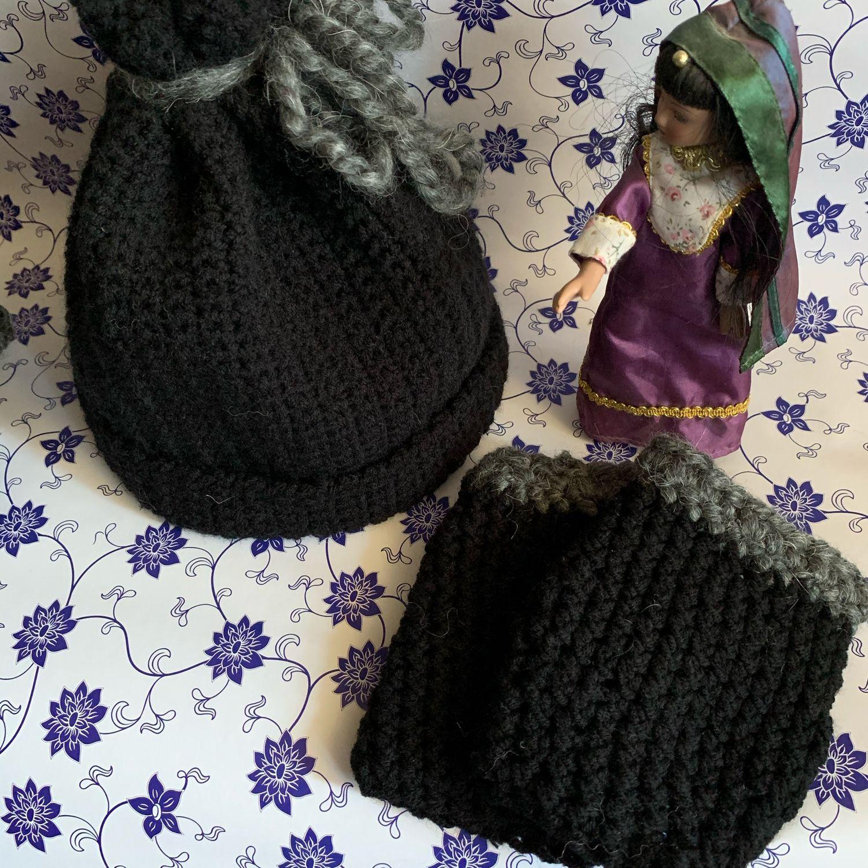 Комплект: шапка, сумка- шопер и митенки ( полуруковички), Шапки, Дубна,  Фото №1