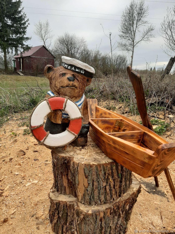 Медвежонок Моряк с лодкой цветником, Скульптуры, Москва,  Фото №1