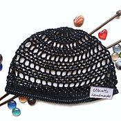Аксессуары handmade. Livemaster - original item Crochet summer hat, beaded beanie, black beanie, mesh hat, chic beanie. Handmade.