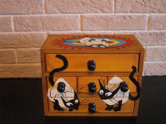 """Мини-комоды ручной работы. Ярмарка Мастеров - ручная работа. Купить Мини-комодик """"Любимчики"""". Handmade. Кошка, деревянная заготовка"""