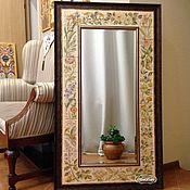 Для дома и интерьера handmade. Livemaster - original item - Painted mirrors-Painted tile Mirror Flowers. Handmade.