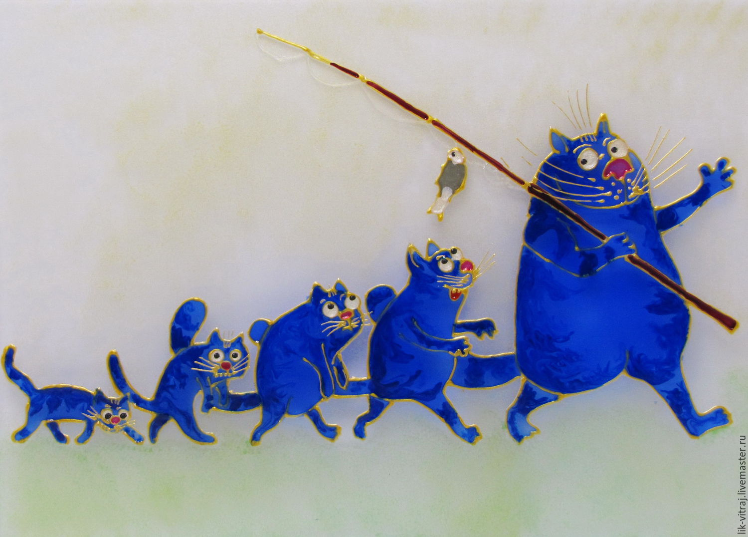 Stained glass painting Evolution. Blue cats by Rina, Sanuk. Free shipping, Pictures, Severodonetsk,  Фото №1