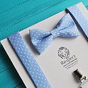 Аксессуары handmade. Livemaster - original item Tie blue polka dot Suspenders Blue lagoon Set. Handmade.
