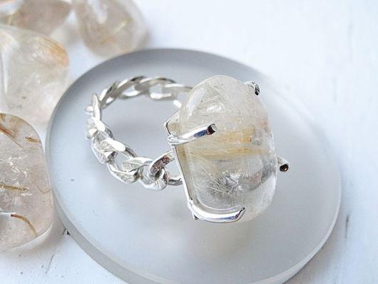Кольца ручной работы. Ярмарка Мастеров - ручная работа. Купить Серебряное кольцо с кварцем волосатиком. Handmade. Серебряный, крупный камень