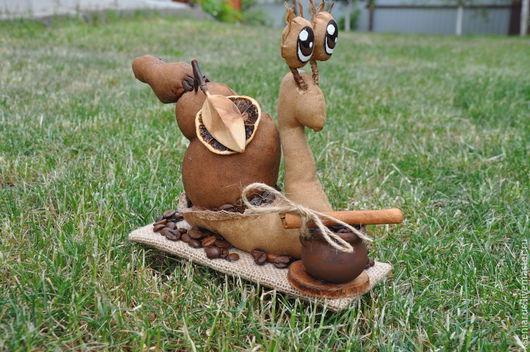 Ароматная кофейно-ванильно-коричная игрушка с керамическим кашпо