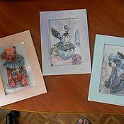 Картины и панно ручной работы. Ярмарка Мастеров - ручная работа Акварельные миниатюры (копии и не только). Handmade.