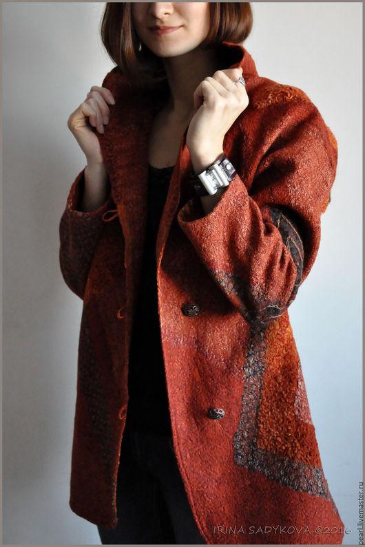 """Верхняя одежда ручной работы. Ярмарка Мастеров - ручная работа. Купить Пальто """"Красная осень"""". Handmade. Рыжий, бархат-деворе"""