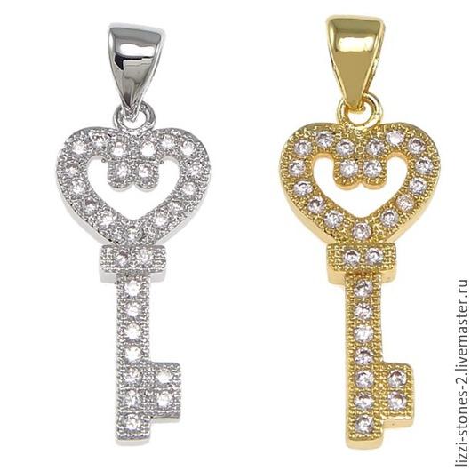 Подвеска ключик золото и серебро (Milano) Евгения (Lizzi-stones-2)