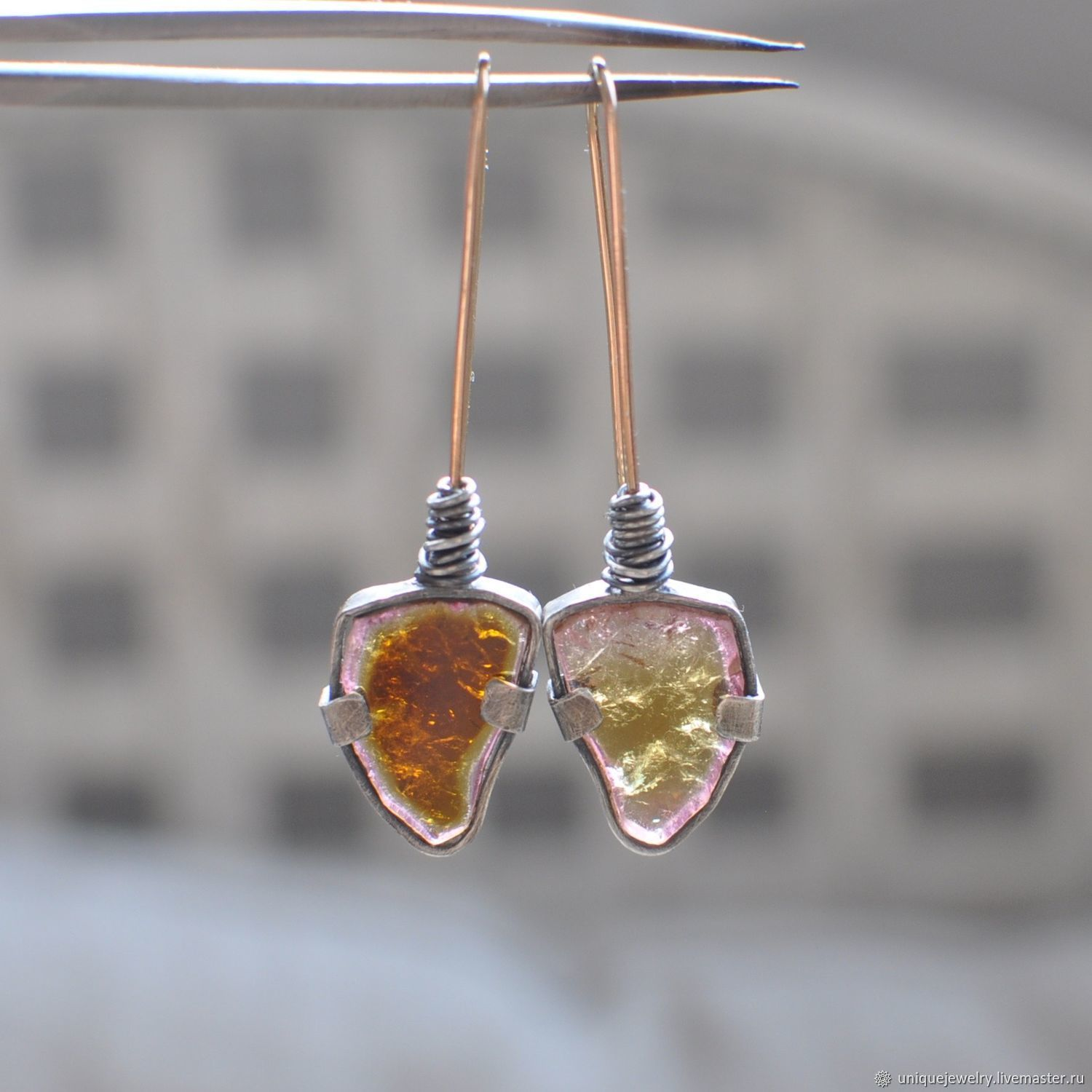 Earrings with multicolored tourmaline, silver and Goldfield, Earrings, Moscow,  Фото №1