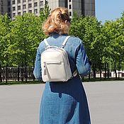 handmade. Livemaster - original item Backpacks: Leather womens backpack beige Veroniya Mod SR26-151. Handmade.
