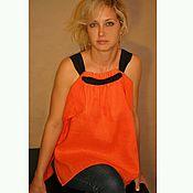 Одежда ручной работы. Ярмарка Мастеров - ручная работа Блузка, лен оранж. Handmade.