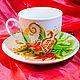 """Сервизы, чайные пары ручной работы. Ярмарка Мастеров - ручная работа. Купить Чашка с блюдцем """"Гранат"""". Handmade. Чашка с блюдцем"""