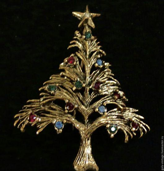 Винтажные украшения. Ярмарка Мастеров - ручная работа. Купить LIA Ель рождественская 1950е, винтажная брошь винтаж. Handmade.