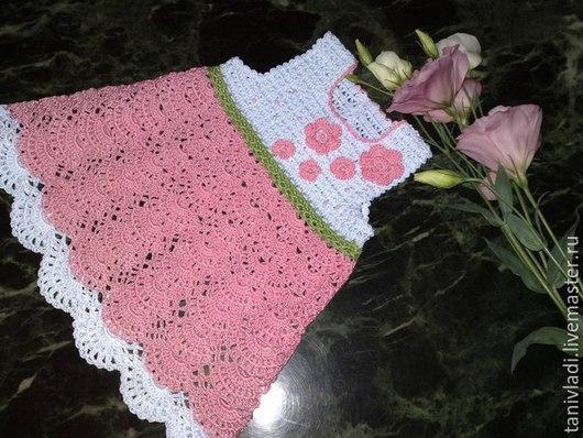 """Одежда для девочек, ручной работы. Ярмарка Мастеров - ручная работа. Купить Платье """"Виктория"""". Handmade. Розовый, платье крючком, для девочки"""