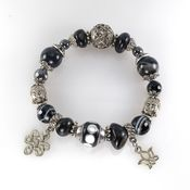 handmade. Livemaster - original item Bracelet with Hawkeye, clay bead and black agate. Handmade.
