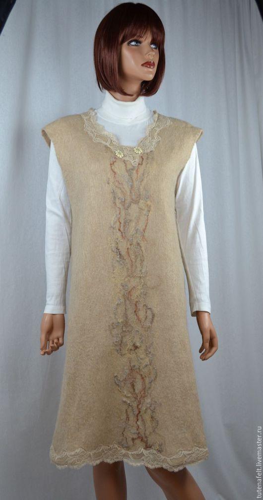 Платья ручной работы. Ярмарка Мастеров - ручная работа. Купить Туника валяная , сарафан валяный из шерсти альпаки. Handmade.