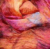 Аксессуары ручной работы. Ярмарка Мастеров - ручная работа шарф Оранжево малиновый с коричневым  натуральный шелк. Handmade.