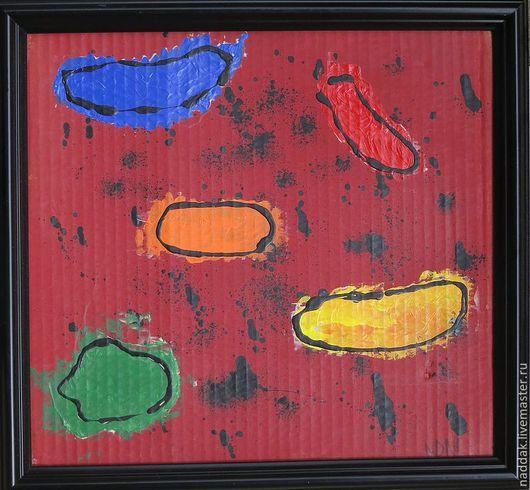 Абстракция ручной работы. Ярмарка Мастеров - ручная работа. Купить Картина Облака. Handmade. Бордовый, абстрактная картина, интерьерная композиция