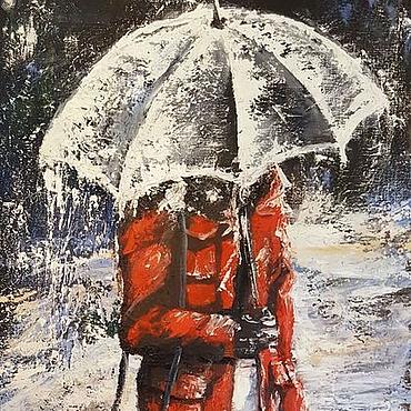 Картины и панно ручной работы. Ярмарка Мастеров - ручная работа Под дождем. Картина маслом.. Handmade.