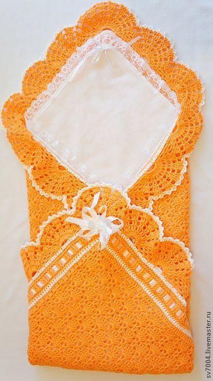 """Для новорожденных, ручной работы. Ярмарка Мастеров - ручная работа. Купить Плед """" апельсинчик """". Handmade. Оранжевый"""