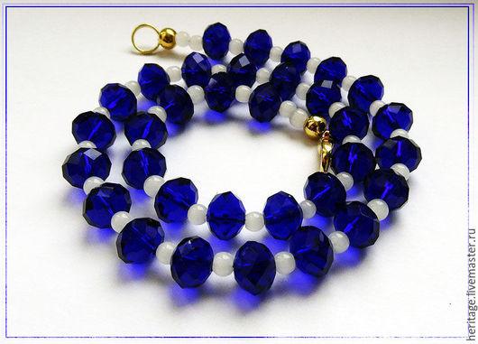 """Колье, бусы ручной работы. Ярмарка Мастеров - ручная работа. Купить Ожерелье """"Тельняшка"""" в синих тонах БРОНЬ. Handmade. Синий"""