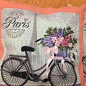 Подушки ручной работы. Ярмарка Мастеров - ручная работа Подушки «Прованс. Париж  в персиковом цвете». Handmade.