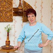 """Одежда ручной работы. Ярмарка Мастеров - ручная работа Джемпер женский вязаный """"Ажурные зигзаги"""" с рукавами 3/4. Handmade."""