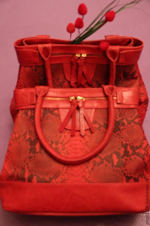 Женские сумки ручной работы. Ярмарка Мастеров - ручная работа. Купить Сумка из натуральной кожи питона. Handmade. Звериная расцветка