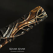 handmade. Livemaster - original item Elongated porcelain brooch with a smoky gold effect. Handmade.