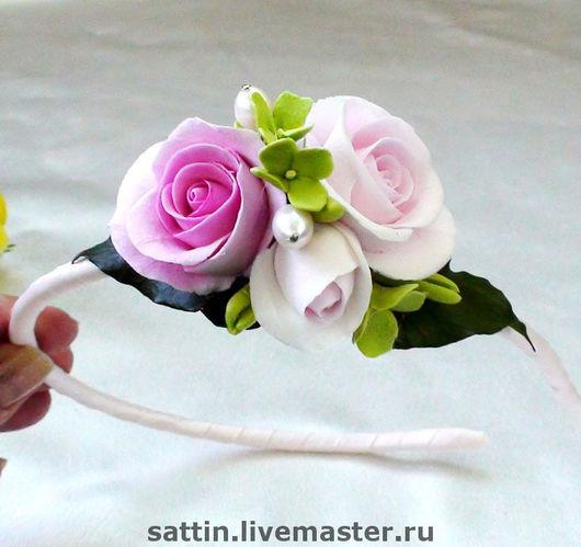 """Диадемы, обручи ручной работы. Ярмарка Мастеров - ручная работа. Купить """"Очей очарование"""" - Ободки с нежно-розовыми розами. Handmade."""