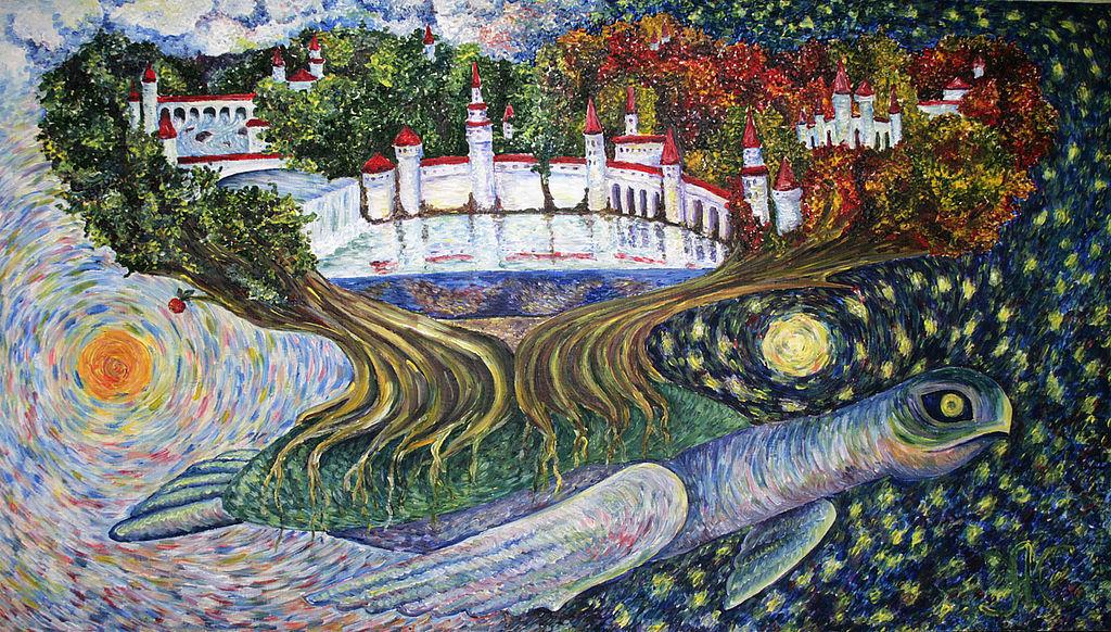 """Картина """"Вселенская черепаха"""" Елена Жарская ...я очень люблю сказки, зачитывалась ими в детстве...наверное это отразилось на моих работах...эта картина навеяна сказками Терри Пратчетта)))"""