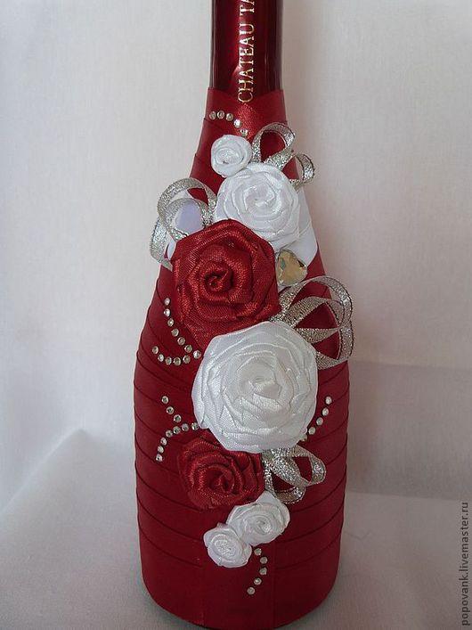 Свадебные аксессуары ручной работы. Ярмарка Мастеров - ручная работа. Купить Оформление бутылки для праздничного стола. Handmade. Бордовый, торжество