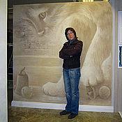 """Дизайн и реклама ручной работы. Ярмарка Мастеров - ручная работа Роспись стен.  Фреска - """"Кошка и сверчок"""". Handmade."""