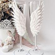 """Свадебный салон ручной работы. Ярмарка Мастеров - ручная работа Свадебные бокалы """"На крыльях любви"""". Handmade."""