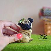 """Украшения handmade. Livemaster - original item """"Pug Nyusha"""" / needlefelting brooch. Handmade."""