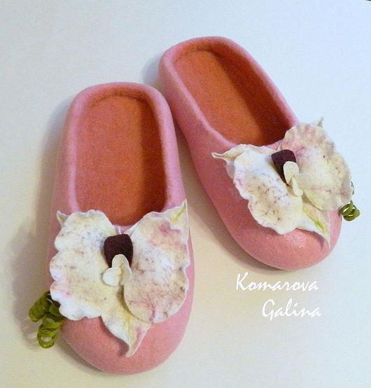 """Обувь ручной работы. Ярмарка Мастеров - ручная работа. Купить валяные тапочки """"Orchid"""". Handmade. Розовый, орхидея"""