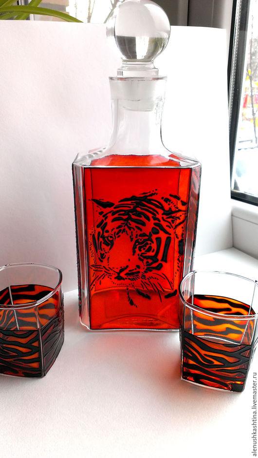 Графины, кувшины ручной работы. Ярмарка Мастеров - ручная работа. Купить Набор для виски «Тигр». Handmade. Витраж, графин, тигр