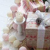 Для дома и интерьера handmade. Livemaster - original item Garland of thread balls, glowing lanterns pink peach. Handmade.