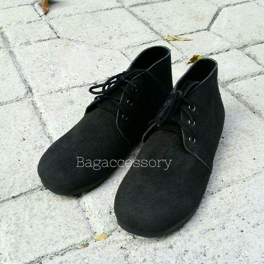 Обувь ручной работы. Ярмарка Мастеров - ручная работа. Купить Ботинки из натуральной замши. Handmade. Ботинки, ботинки мужские
