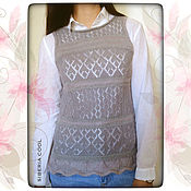 Одежда handmade. Livemaster - original item Vest women`s gray pearls, knitted, openwork, wool, mohair. Handmade.