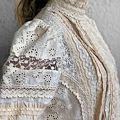 Одежда handmade. Livemaster - original item Summer cream blouse made of cotton sewing and lace Valencia cream. Handmade.