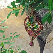 handmade. Livemaster - original item Bright Summer pendant-red ruby, green chrome diopside, gold beads. Handmade.