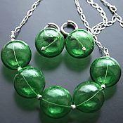 Украшения handmade. Livemaster - original item Set Greenery earrings and a necklace lampwork glass bowls on chain. Handmade.
