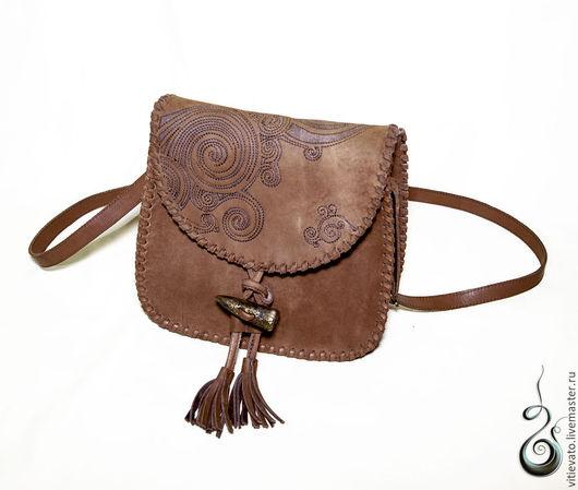 Сумка из кожи, сумка дизайнерская `Яркая осень` из плотной, натуральной кожи по авторскому эскизу, коричневая,  сумка повседневная.  подарок на Новый год, новогодний подарок, осенний  стиль